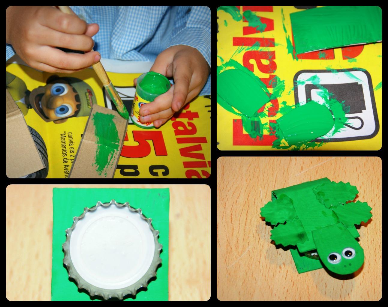 Por último hemos cubierto de fieltro a la tortuga, para recrear el